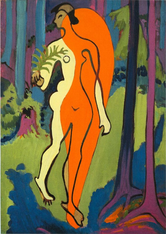 Kirchner, Ernst Ludwig: Nude in Orange and Yellow. Fine Art Print/Poster. Sizes: A4/A3/A2/A1 (00496)